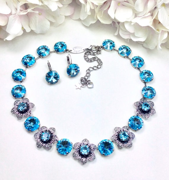 Swarovski Crystal 14mm Necklace  -  Dreamy Aquamarine Crystals & Filigree and Crystal Flowers - Spring Is Here! - FREE SHIPPING