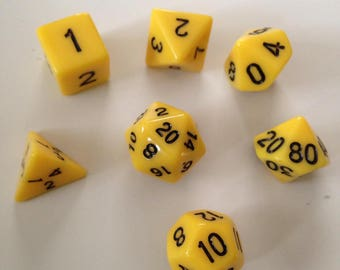 Yellow Polyhedral Dice Set
