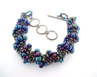 Colorful Spiral Beaded Bracelet rainbow jewel tone seed bead cellini spiral round twisted bead bracelet with gunmetal toggle clasp