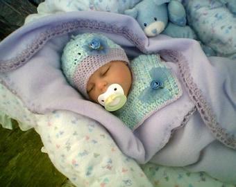 0009 Baby Beanie,Bib Collar,Infant Crochet Pattern Set,Beautiful Combinations Baby Pattern by CarussDesignZ