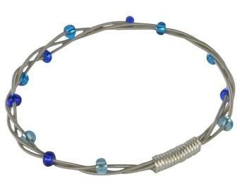 Beaded Guitar String Bangle Bracelet - Blue