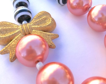 Fashion girl. Kids jewelry. Black & White stripes. Coral. Gold. Bow. Princess. Gift for girls. Bubblegum bead necklace. Birthday party.