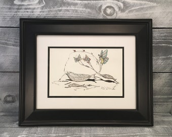 "Wall Art, Fairy Art Pen And Ink Drawing Original Artwork Illustration, Framed Art, Hand Drawn Sketch, Titled: ""Offerings"" Item #498954710"