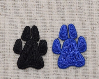 Mini/Small - Paw Prints - Dog or Cat - Blue or Black - Embroidered Patch - Iron on Applique - 692499