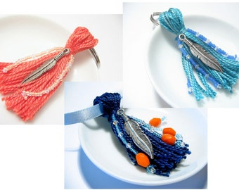 Feather Beaded Tassel Keychain: Choose Your Color