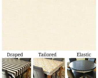 Oilcloth aka laminated cotton/linen heavyweight tablecloth pick fitted by TAILORING or fitted by ELASTIC or DRAPED, solid Ivory Cream color
