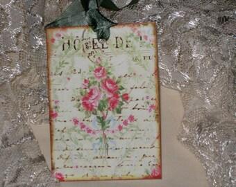 Vintage Spring Roses Gift Tags ECS Tattered Vintage Style