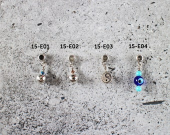 Cord bracelet charm - silver plated metal bead with crystal, antique silver yin & yang, glass evil eye with turquoise