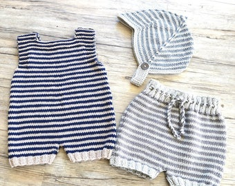 KNITTING PATTERN-Romper, Shorts and Helmet - P125 (C)