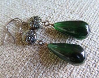 green earrings, green jewelry, evergreen earrings, long green earrings, dramatic earrings, statement earrings, St Patricks Day earrings