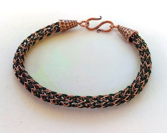 Two-Toned Copper and Forest Green Viking Knit Bracelet with S-hook clasp