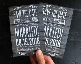 Rustic Save The Date Postcard | Wood | Woodgrain | Boho | Rustic | Announcement | Printable | Digital | Save The Date with Calendar