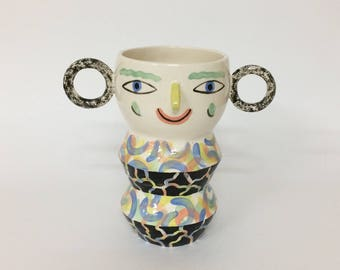 Speckle ears face vase