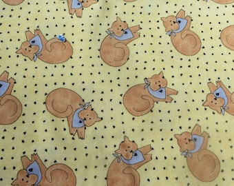 Bless our Home 1 1/2 Yards Robert Kaufman Fabric with Kitties and Tiny Hearts Cotton Fabric by Lisa Seely Adorable Cats and Hearts Print