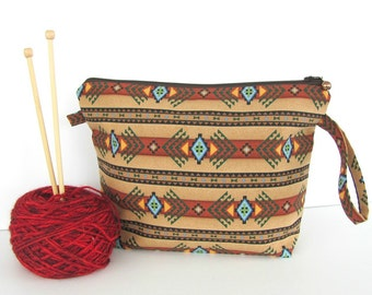 Southwest Knitting bags, Aztec pattern wedge crochet project bag, Knitting accessories