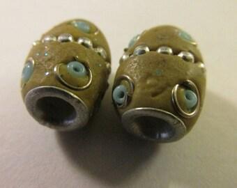 "Vintage Kashmiri Barrel Bead with Metal Studs, 1/2"", Set of 2"