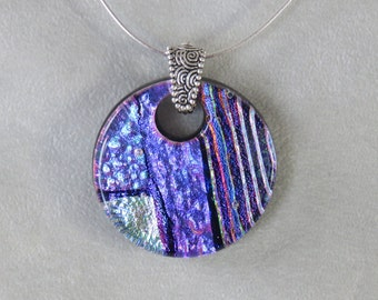 Fused art glass dichroic pendant