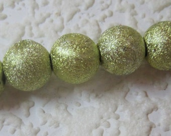 Apple, Green, 11MM, Round, Spacer, Bead, Glitter, Shiny,Coated, Texture,