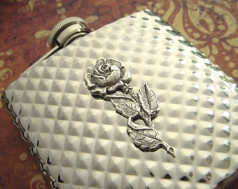 Silver Rose Flask Silver Plated Metal Flask Steampunk Style Gothic Victorian Vintage Inspired Diamond Pattern Gifts For Her