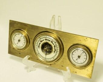 Brass Desk Accessories, Barometer, Barometer Hygrometer, Vintage Barometer, Rain Gauge, Weather Station, Vintage Barometer Thermometer,