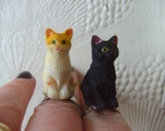 I LOVE CATS, cat ring,  black and white, black,  ginger, cat, resin cat, fun, by NewellsJewels on etsy
