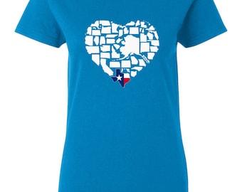 Texas T-shirt - Deep In The Heart Is Texas Womens My State Texas T-shirt