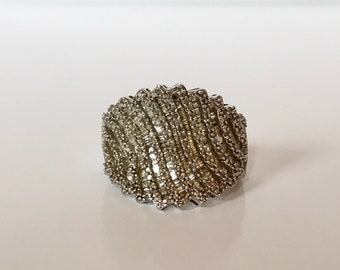 Diamond 1.75 carat baguette and round diamonds pave diamond concave cocktail statement right hand ring