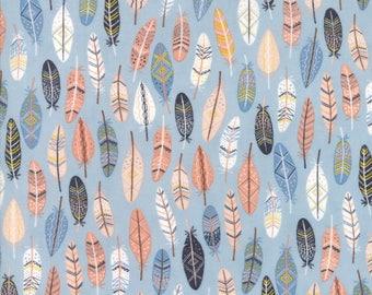 Moda Wild and Free Fabric- 1 yard Sky Feathers  35315-15