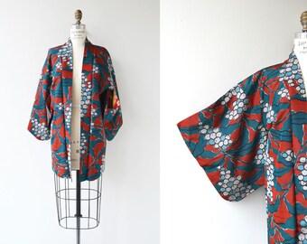 Suguri silk haori | 50s floral kimono | 1950s floral silk kimono