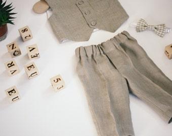 Rustic baby suit, weding baby clothes, Organic Baby Clothes for Boys ,organic baby clothes, linen baby pants, baby boys vest, suit linen