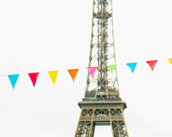 Eiffel Tower Art Print - Paris Photography Print - Francophile Gift - French Wall Art - Rainbow Paris Print - Children's Room Decor