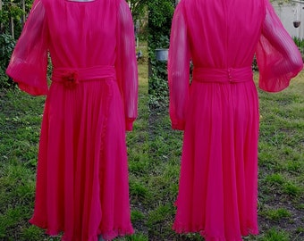 80s Cocktail Dress, Miss Elliette, Vintage Party Dress, Stage Costume, 80s Costume, Red Dress, Chiffon Dress, Pleated Dress