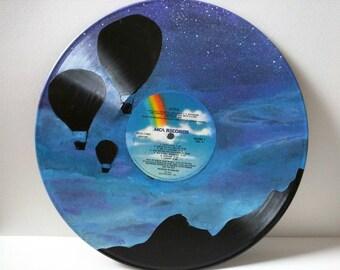 Vinyl Record Art Hot Air Balloons Flying Into The Night