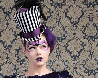 Vintage Circus Top Hat,Black & White Striped Top Hat for WOMEN,Steampunk Ladies Top Hat,Victorian Gothic Mini Top Hats-Made to Order