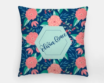 Pillow - Custom name - Tropical - Blue and pink