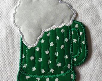 St. Patricks day, St Patricks day mug rug, coaster, mug rug, green beer, beer mug, stein, beer stein, ale, bar