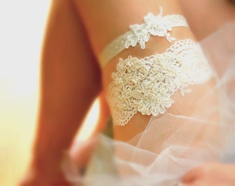 Lace Garter Set, Ivory Lace Garter, Wedding Garter Set, Alencon Lace Garter, Beaded Lace Garter