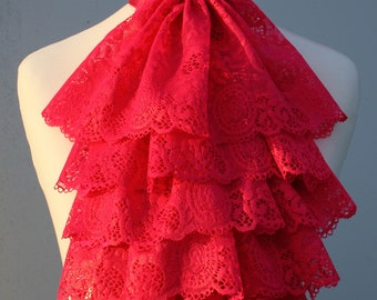 Hot pink with sheen lace jabot FREE UK SHIPPING