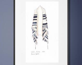 Original watercolor - Talit painting -Jewish painting-Tallit