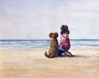 A Girl and Her Dog Friend  Art print of Watercolor Painting -  Child, Pet, Girl's Room, Friendship, childhood, Companion, Beach