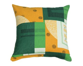 Squares Pillow Cover - Green Yellow White