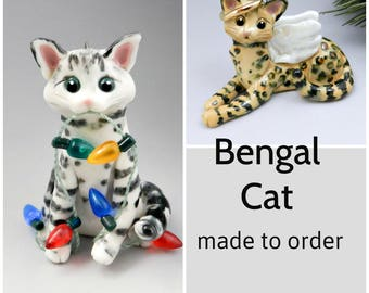 Bengal Cat Christmas Ornament Figurine Made to Order in Porcelain