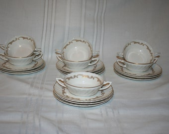 Syracuse Baroque Gold  Set of 4 Cream Soups and Saucers