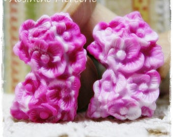 2 cabochons in polymer clay - FLORAL style - pink and white - set of 2-