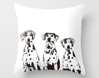 """Dalmatian Dogs Throw Pillow 18"""" x 18"""" -  black and white, throw pillows, dog on pillows, dog pillows, nursery pillow"""