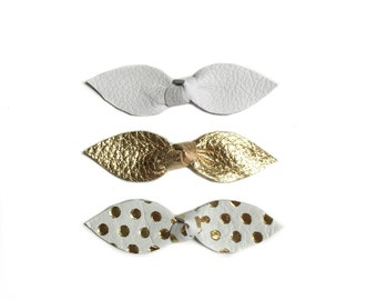 Leather Bows, white hair clip, gold dots bow, gold leather bow, baby bow clips, white bow, polka dot clip, baby girl barrettes,girl hair bow
