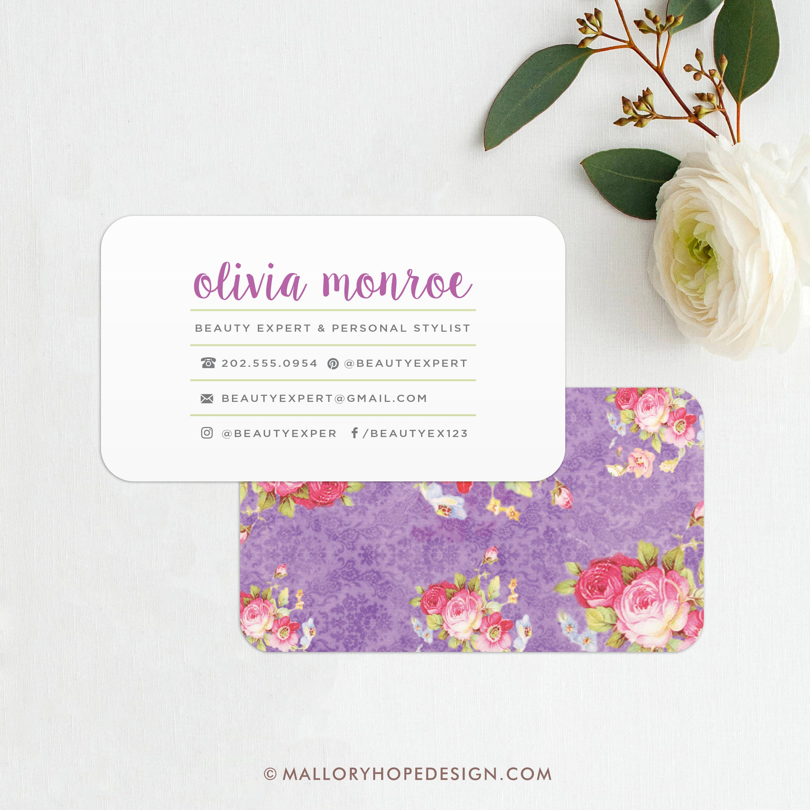 Vintage Floral Business Card / Calling Card / Mommy Card /