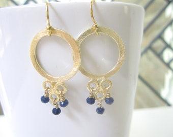 Brushed Gold Earrings, Gold Dangle Earrings, Wire Wrapped Jewelry, Chandelier Earrings, Gold Filled, Navy Quartz, Sapphire, Quartz Jewelry