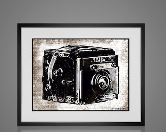 Framed Wall Art - VINTAGE CAMERA PRINT - Free Shipping - Wall Art Sets - Available In 4 Sizes - Choose Black or Antique White Frames -