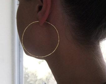 Hammered Hoop Earrings - 14k Gold Filled Large Hoop Earrings - Hoop Earrings Gold - Circle Earrings